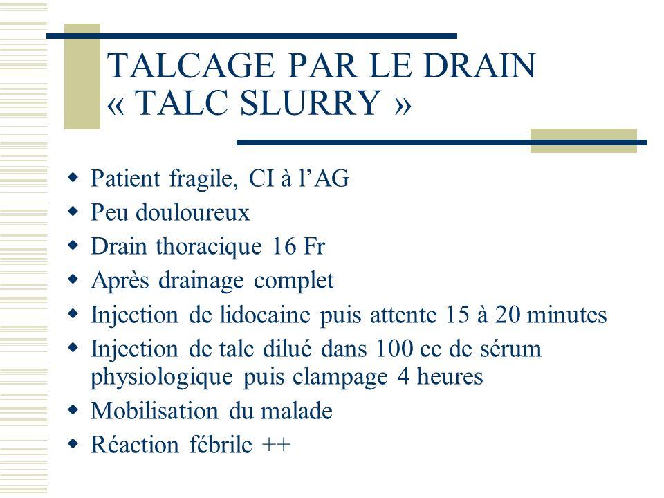 TALCAGE PAR LE DRAIN « TALC SLURRY » Patient fragile, CI à lAG Peu douloureux Drain thoracique 16 Fr Après drainage complet Injection de lidocaine pui
