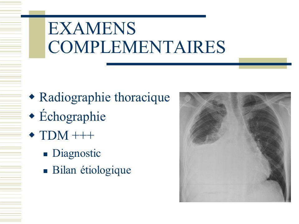 EXAMENS COMPLEMENTAIRES Radiographie thoracique Échographie TDM +++ Diagnostic Bilan étiologique