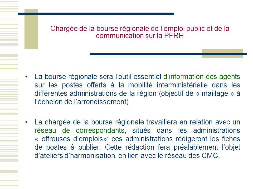 Chargée de la bourse régionale de lemploi public et de la communication sur la PFRH La bourse régionale sera loutil essentiel dinformation des agents