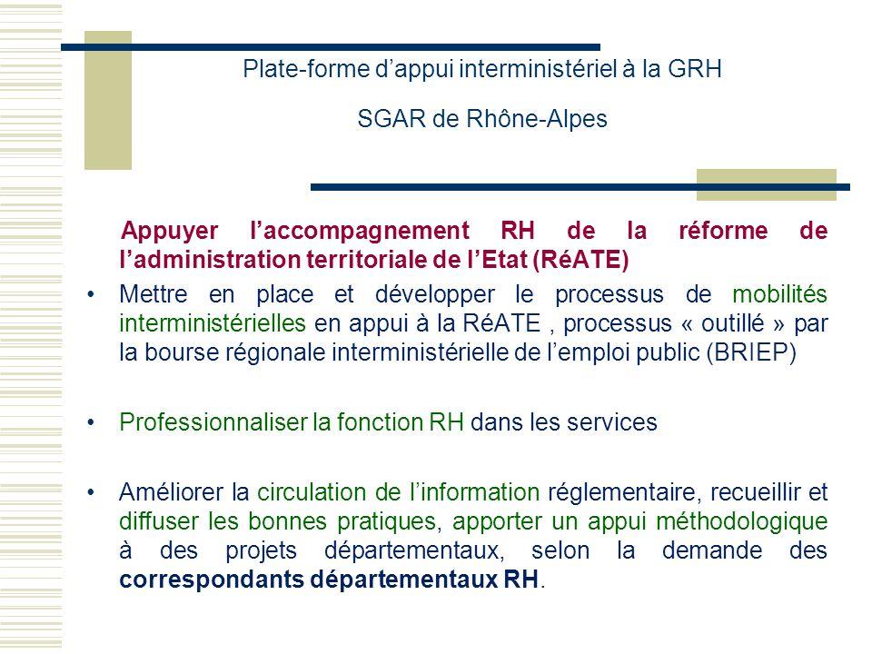 Plate-forme dappui interministériel à la GRH SGAR de Rhône-Alpes Développer la lisibilité, les synergies voire les mutualisations en matière de GRH dans les services de lEtat Recenser la diversité des modalités ministérielles de GRH Dégager, avec les acteurs RH des administrations territoriales, ainsi quavec leurs experts « métiers », des harmonisations qui permettront de « faire sens » auprès des communautés de travail interministérielles nouvellement créées Proposer les mutualisations qui contribueraient à développer ces communautés de travail et à rendre la fonction GRH plus lisible et plus efficiente.
