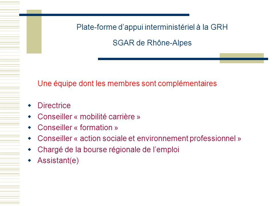 Plate-forme dappui interministériel à la GRH SGAR de Rhône-Alpes Une équipe dont les membres sont complémentaires Directrice Conseiller « mobilité car