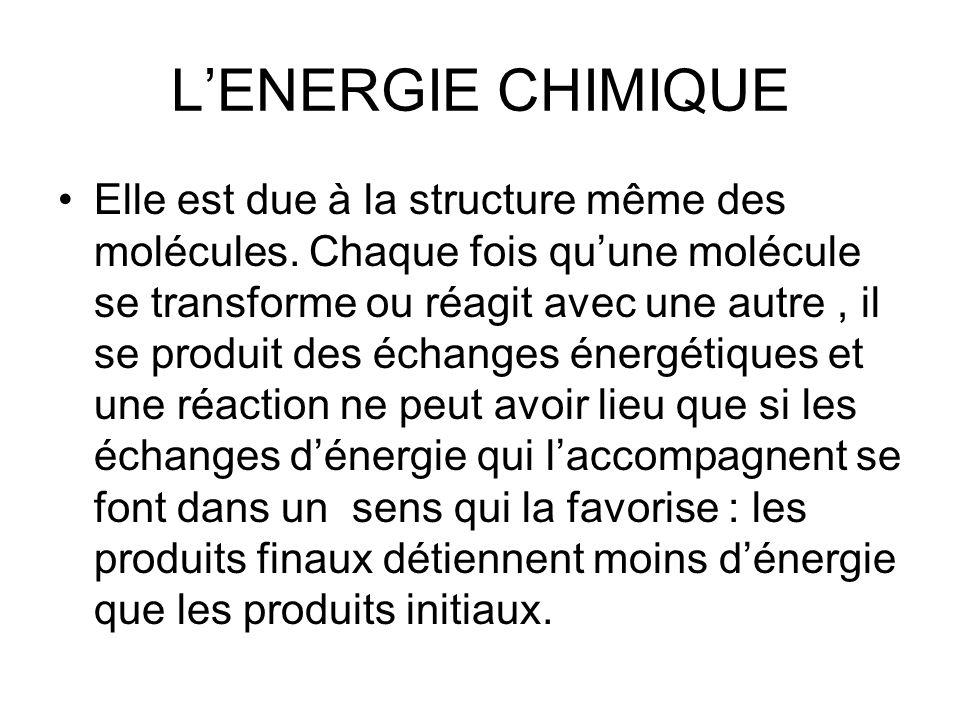 LENERGIE CHIMIQUE Elle est due à la structure même des molécules. Chaque fois quune molécule se transforme ou réagit avec une autre, il se produit des