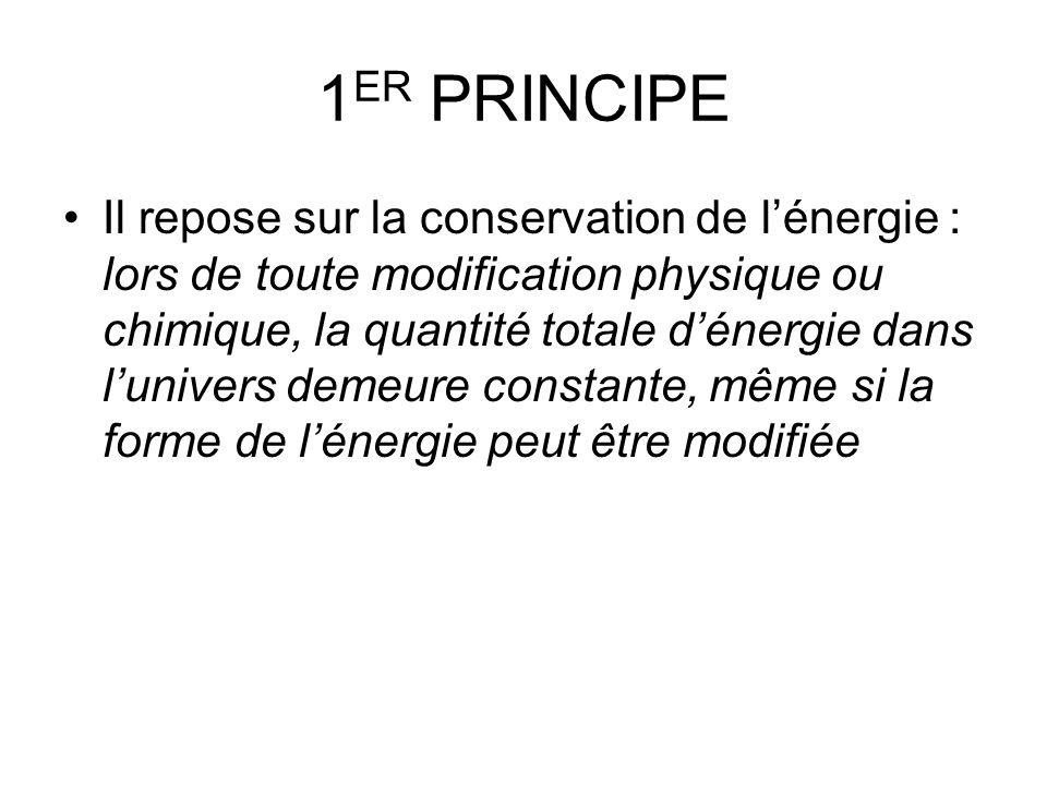 1 ER PRINCIPE Il repose sur la conservation de lénergie : lors de toute modification physique ou chimique, la quantité totale dénergie dans lunivers d