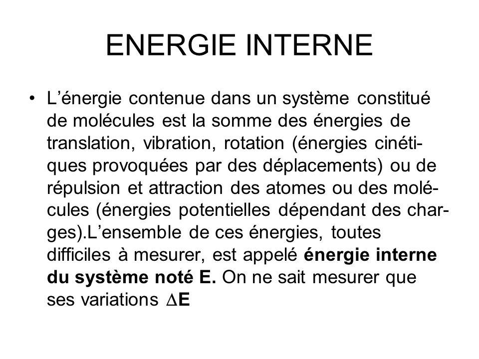 ENERGIE INTERNE Lénergie contenue dans un système constitué de molécules est la somme des énergies de translation, vibration, rotation (énergies cinét