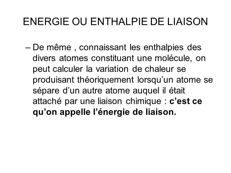 ENERGIE OU ENTHALPIE DE LIAISON –De même, connaissant les enthalpies des divers atomes constituant une molécule, on peut calculer la variation de chal