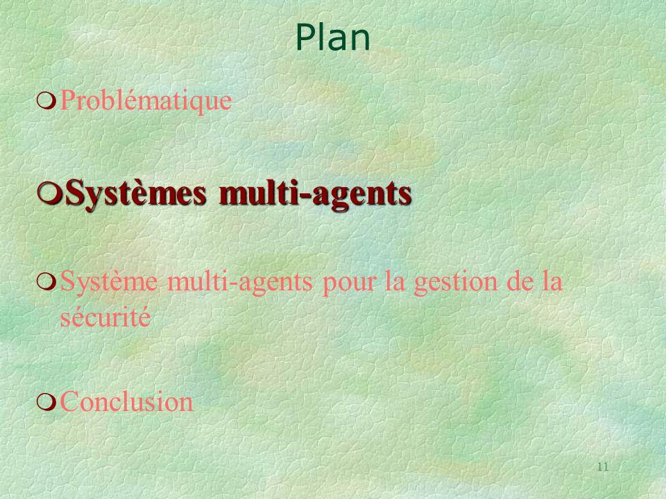 11 m Problématique m Systèmes multi-agents m Système multi-agents pour la gestion de la sécurité m Conclusion Plan