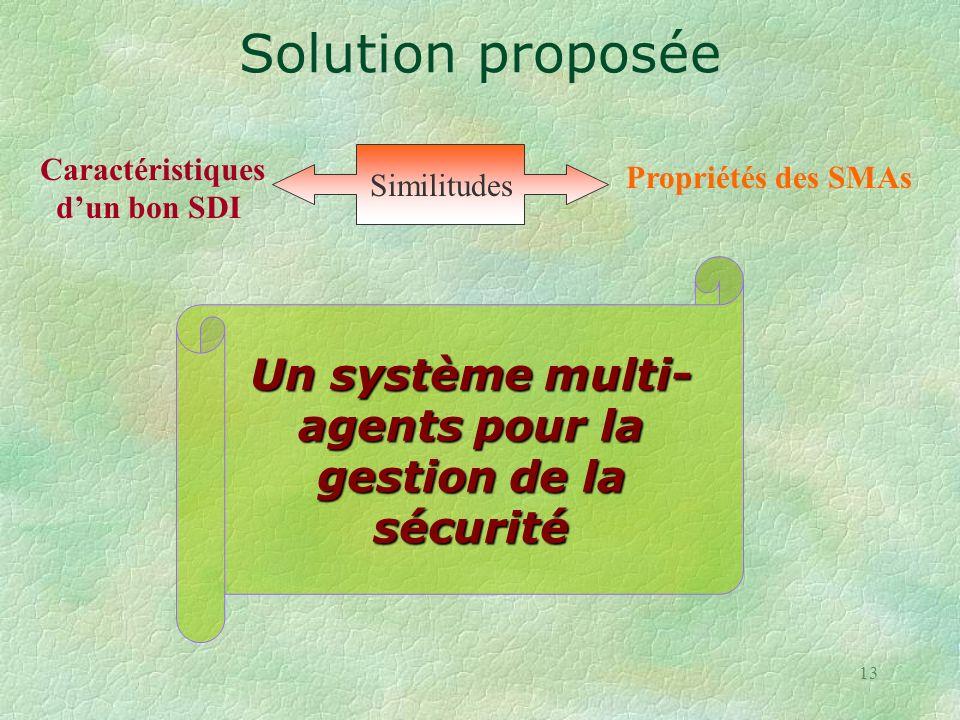 13 Un système multi- agents pour la gestion de la sécurité Similitudes Caractéristiques dun bon SDI Propriétés des SMAs Solution proposée