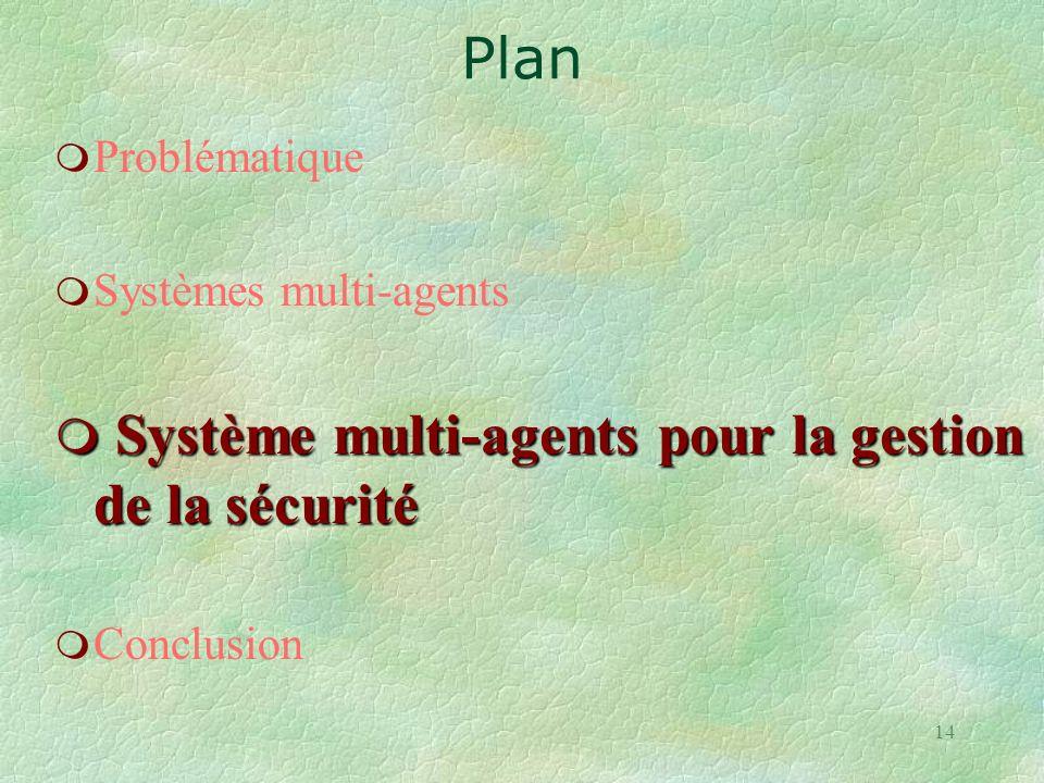 14 m Problématique m Systèmes multi-agents m Système multi-agents pour la gestion de la sécurité m Conclusion Plan