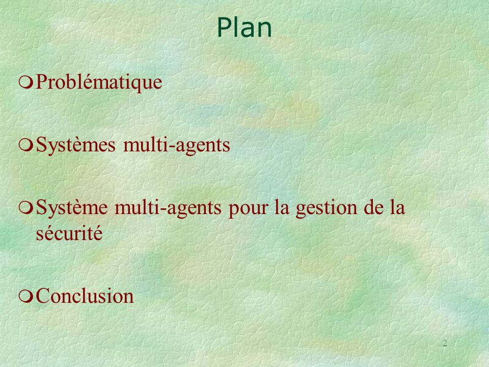 2 m Problématique m Systèmes multi-agents m Système multi-agents pour la gestion de la sécurité m Conclusion Plan
