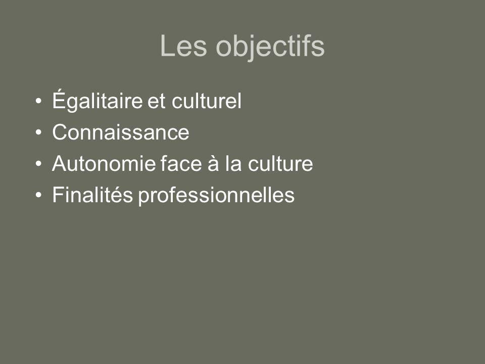 Les objectifs Égalitaire et culturel Connaissance Autonomie face à la culture Finalités professionnelles