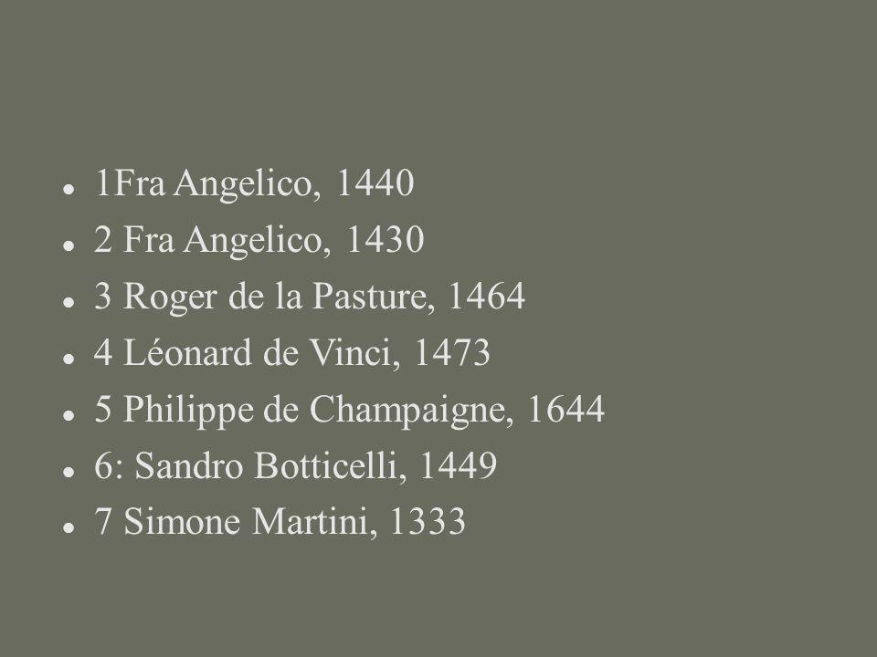 1Fra Angelico, 1440 2 Fra Angelico, 1430 3 Roger de la Pasture, 1464 4 Léonard de Vinci, 1473 5 Philippe de Champaigne, 1644 6: Sandro Botticelli, 144
