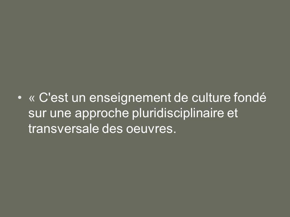 « C'est un enseignement de culture fondé sur une approche pluridisciplinaire et transversale des oeuvres.