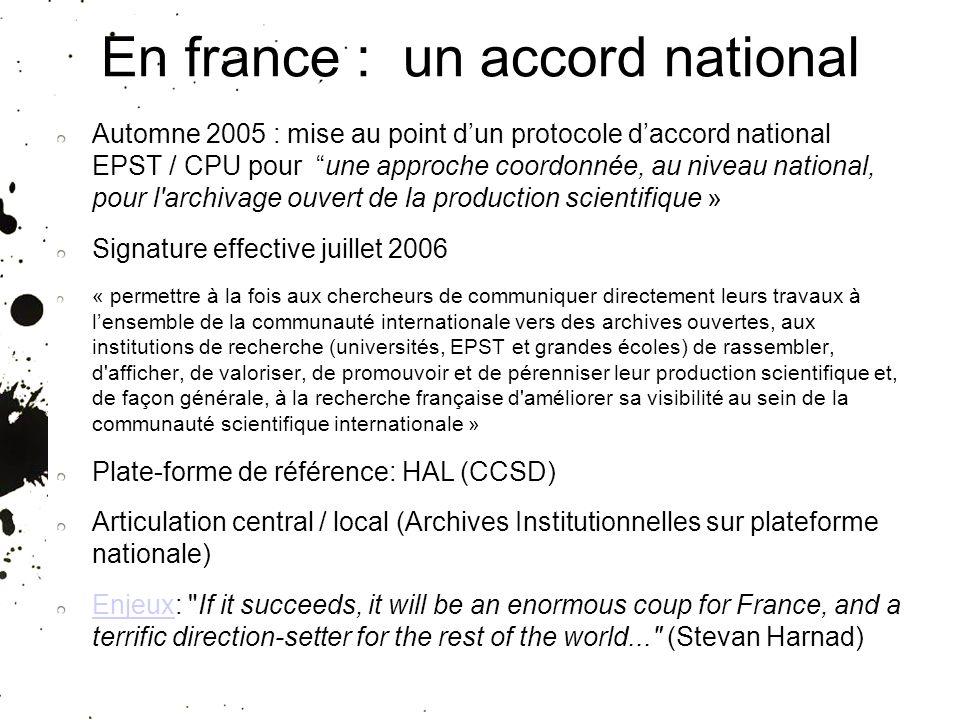 25/01/10 En france : un accord national Automne 2005 : mise au point dun protocole daccord national EPST / CPU pour une approche coordonnée, au niveau