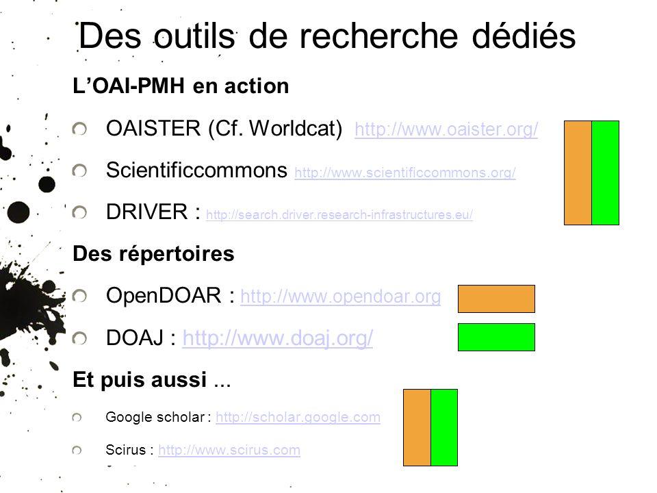 Des outils de recherche dédiés LOAI-PMH en action OAISTER (Cf. Worldcat) http://www.oaister.org/ http://www.oaister.org/ Scientificcommons http://www.