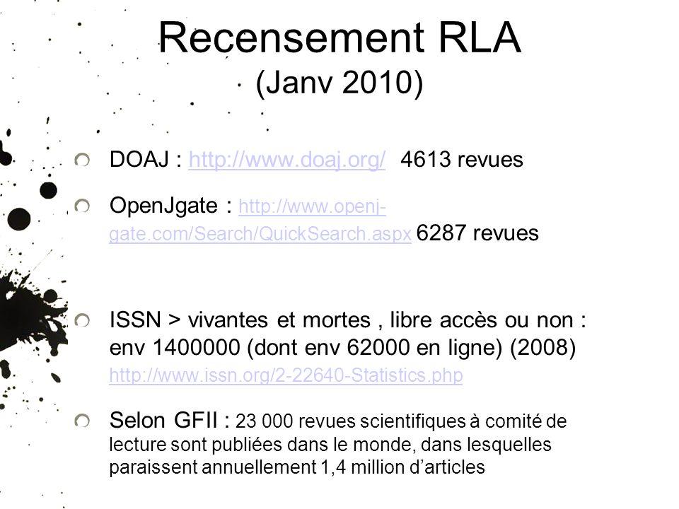 Recensement RLA (Janv 2010) DOAJ : http://www.doaj.org/ 4613 revueshttp://www.doaj.org/ OpenJgate : http://www.openj- gate.com/Search/QuickSearch.aspx