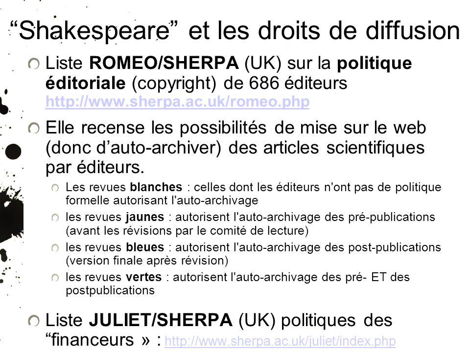 25/01/10 Shakespeare et les droits de diffusion Liste ROMEO/SHERPA (UK) sur la politique éditoriale (copyright) de 686 éditeurs http://www.sherpa.ac.u