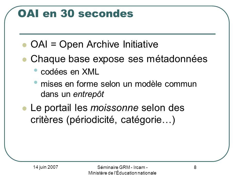14 juin 2007 Séminaire GRM - Ircam - Ministère de l'Éducation nationale 8 OAI en 30 secondes OAI = Open Archive Initiative Chaque base expose ses méta