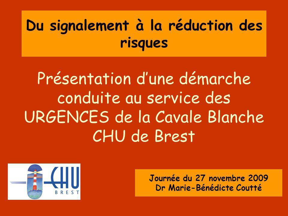 Du signalement à la réduction des risques Présentation dune démarche conduite au service des URGENCES de la Cavale Blanche CHU de Brest Journée du 27