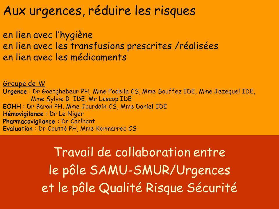 Aux urgences, réduire les risques en lien avec lhygiène en lien avec les transfusions prescrites /réalisées en lien avec les médicaments Groupe de W U