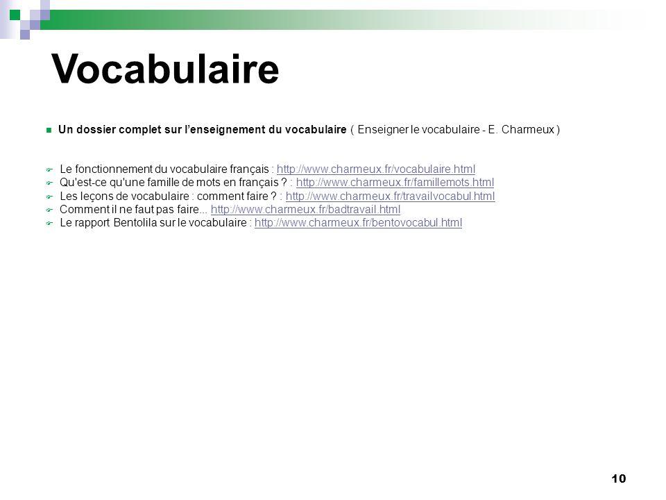 10 Un dossier complet sur lenseignement du vocabulaire ( Enseigner le vocabulaire - E. Charmeux ) Le fonctionnement du vocabulaire français : http://w