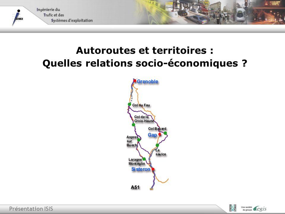 Présentation ISIS Autoroutes et territoires : Quelles relations socio-économiques ?