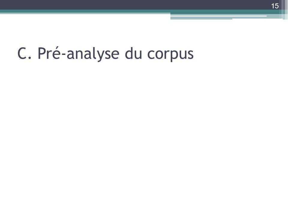 C. Pré-analyse du corpus 15
