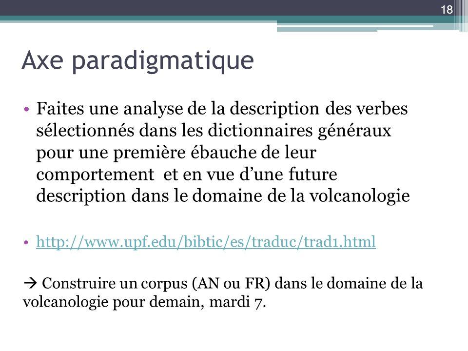 Axe paradigmatique Faites une analyse de la description des verbes sélectionnés dans les dictionnaires généraux pour une première ébauche de leur comp