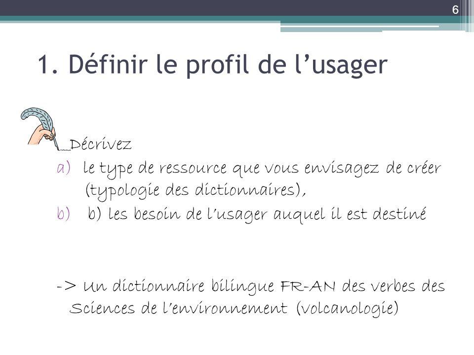 1. Définir le profil de lusager Décrivez a)le type de ressource que vous envisagez de créer (typologie des dictionnaires), b) b) les besoin de lusager