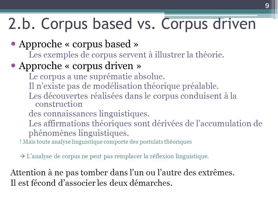 2.b. Corpus based vs. Corpus driven Approche « corpus based » Les exemples de corpus servent à illustrer la théorie. Approche « corpus driven » Le cor