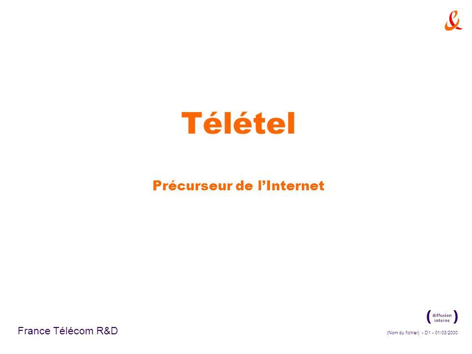(Nom du fichier) - D1 - 01/03/2000 France Télécom R&D Télétel Précurseur de lInternet