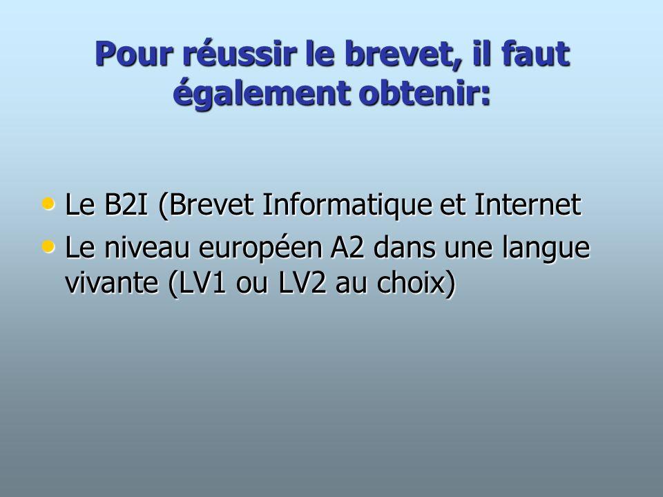 Pour réussir le brevet, il faut également obtenir: Le B2I (Brevet Informatique et Internet Le B2I (Brevet Informatique et Internet Le niveau européen A2 dans une langue vivante (LV1 ou LV2 au choix) Le niveau européen A2 dans une langue vivante (LV1 ou LV2 au choix)