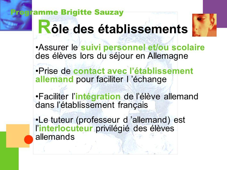 Programme Brigitte Sauzay Assurer le suivi personnel et/ou scolaire des élèves lors du séjour en Allemagne Prise de contact avec létablissement allema