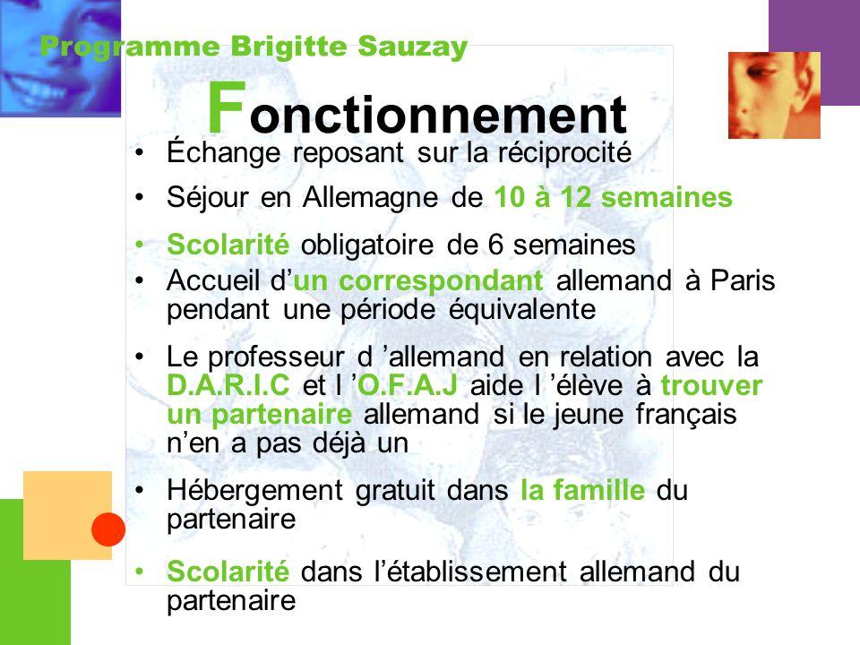Programme Brigitte Sauzay F onctionnement Échange reposant sur la réciprocité Séjour en Allemagne de 10 à 12 semaines Scolarité obligatoire de 6 semai