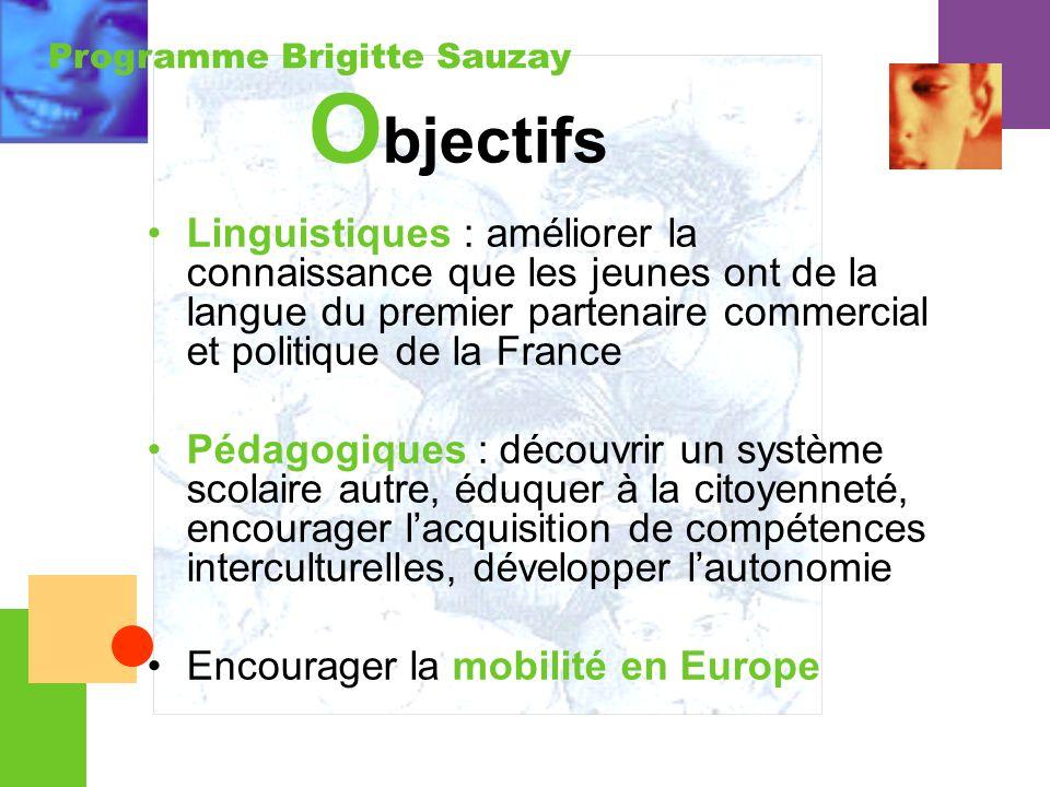 Programme Brigitte Sauzay O bjectifs Linguistiques : améliorer la connaissance que les jeunes ont de la langue du premier partenaire commercial et pol