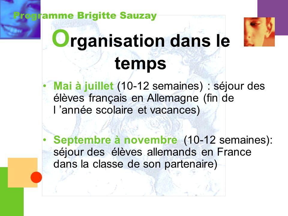 Programme Brigitte Sauzay O rganisation dans le temps Mai à juillet (10-12 semaines) : séjour des élèves français en Allemagne (fin de l année scolair