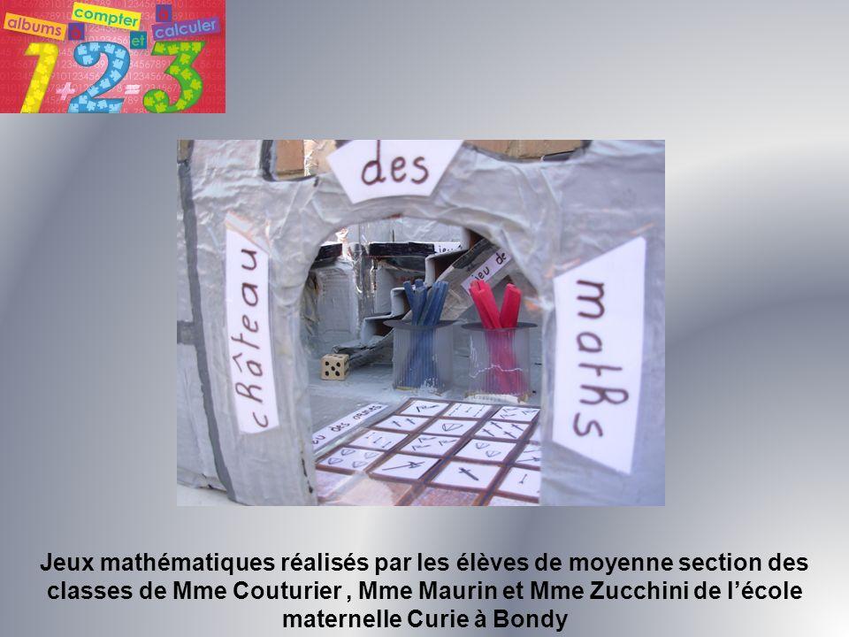 Jeux mathématiques réalisés par les élèves de moyenne section des classes de Mme Couturier, Mme Maurin et Mme Zucchini de lécole maternelle Curie à Bo