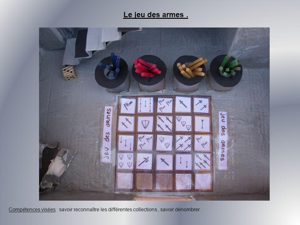 Le jeu des armes. Compétences visées : savoir reconnaître les différentes collections, savoir dénombrer.