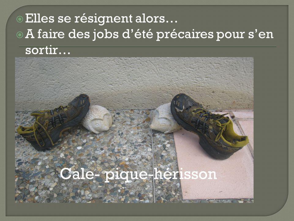 Elles se résignent alors… A faire des jobs dété précaires pour sen sortir… Cale- pique-hérisson