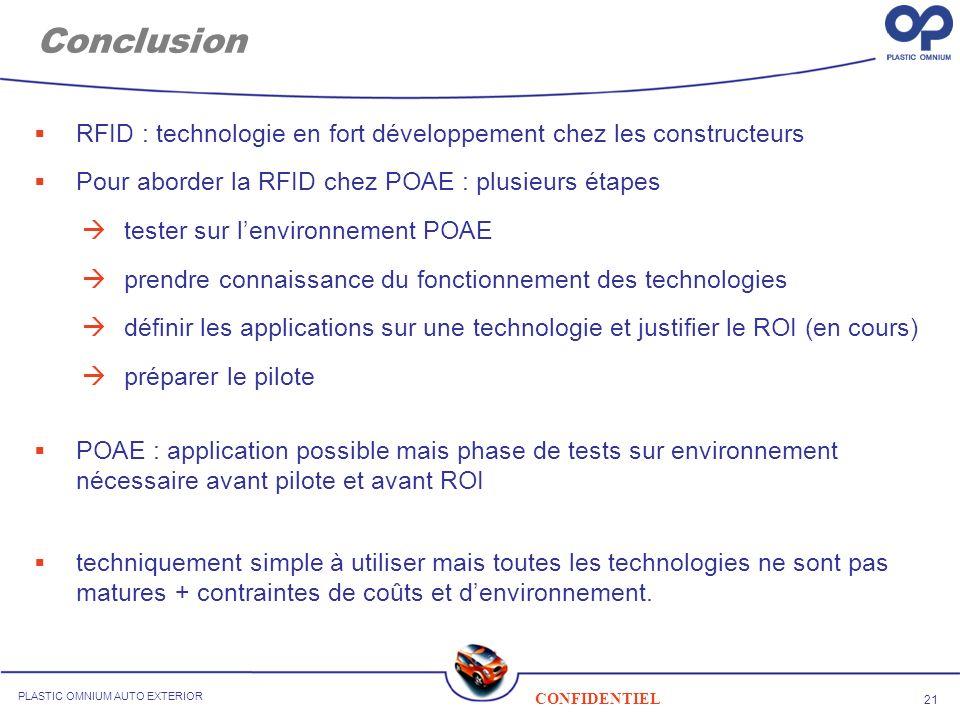 21 CONFIDENTIEL PLASTIC OMNIUM AUTO EXTERIOR Conclusion RFID : technologie en fort développement chez les constructeurs Pour aborder la RFID chez POAE