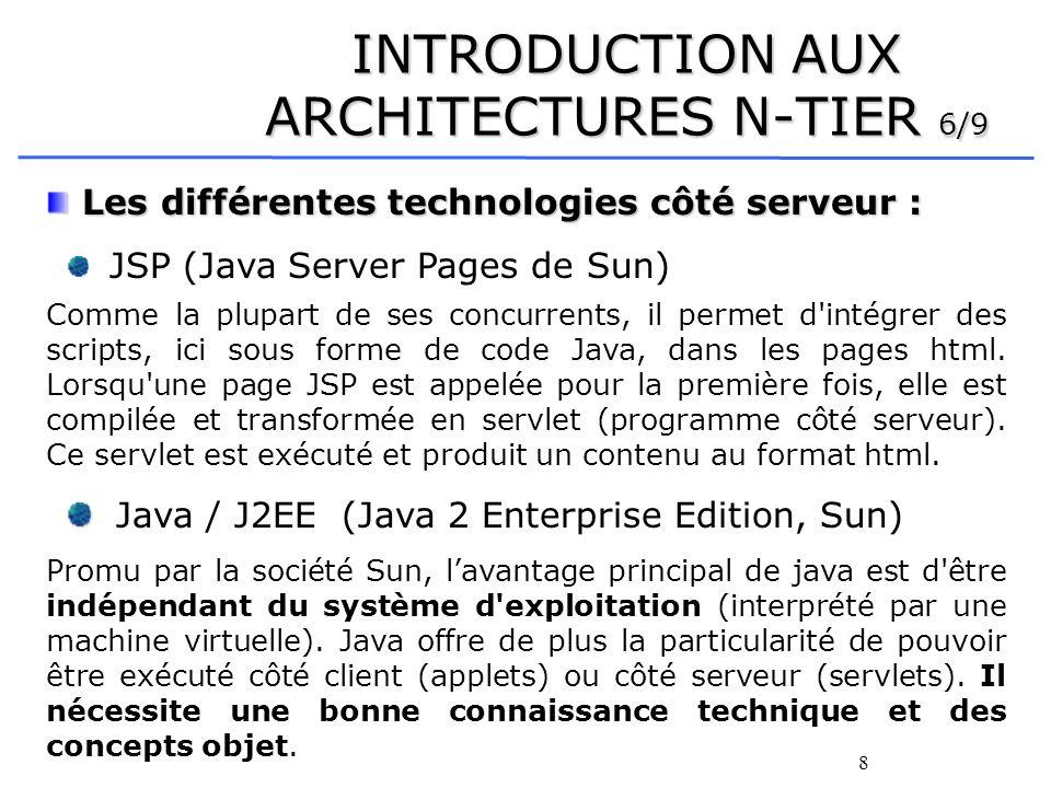 9 Les différentes technologies côté serveur : Les différentes technologies côté serveur : ASP (Active Server Pages de Microsoft) Cette technologie est basée sur des scripts côté serveur, écrits en Vbscript ou Javascript.