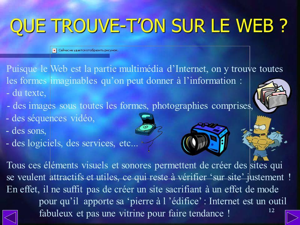 11 Au menu : Au menu : - Que trouve-ton sur le Web ? - Quest-ce quune page Internet ? - Quest-ce quun site Internet ? - Comment est conçu un site ? -