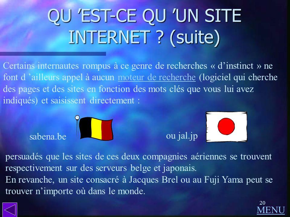19 QU EST-CE QU UN SITE INTERNET ? (suite) Pour ce qui concerne les sites ou simples pages de particuliers, la recherche se fera de préférence à parti