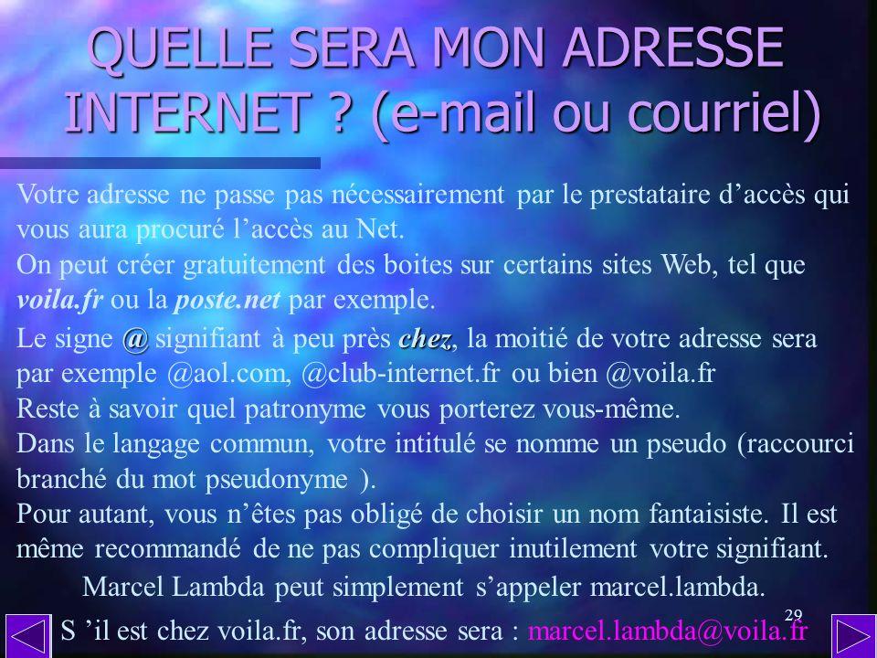 28 QUEST-CE QUUNE ADRESSE INTERNET ? (suite) Traduite en langage courant, cette adresse fictive signifie que les s ss soldes sont à la page p pp panta