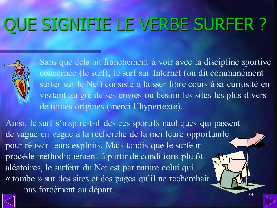 33 QUEST-CE QUUN LIEN HYPERTEXTE ? Toutes les zones dune page Internet sur lesquelles le curseur de la souris se transforme en petite main (image ou t