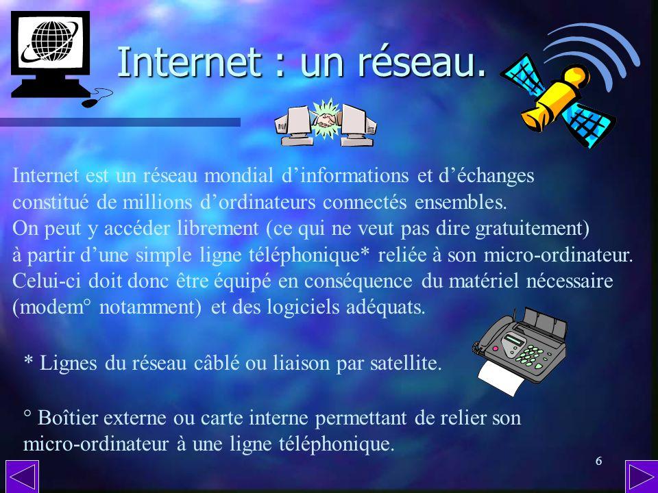 5 De nos jours, impossible dignorer Internet. Même si on ne possède pas dordinateur personnel ou professionnel, dans les médias pas moyen déchapper à