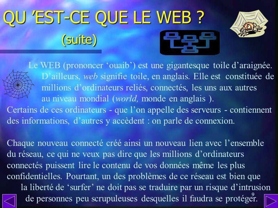 8 QU EST-CE QUE LE WEB ? * que lon peut traduire par réseau mondial ouvert Le WEB est la partie visible dInternet (parce que graphiquement riche et él