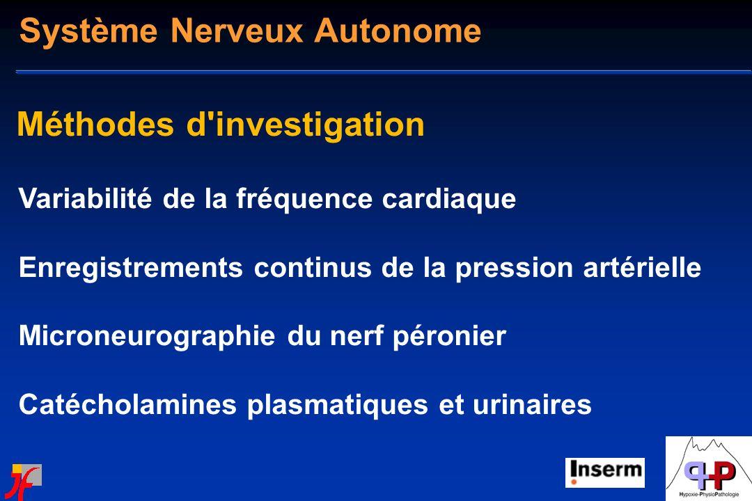 Méthodes d'investigation Système Nerveux Autonome Variabilité de la fréquence cardiaque Enregistrements continus de la pression artérielle Microneurog