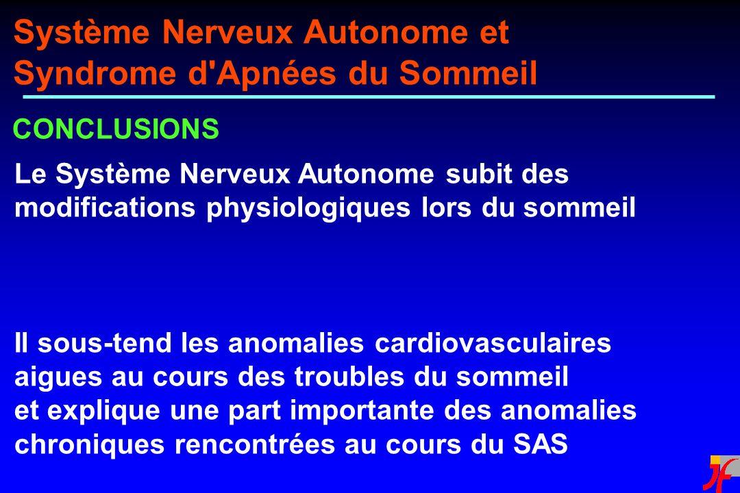 CONCLUSIONS Système Nerveux Autonome et Syndrome d'Apnées du Sommeil Le Système Nerveux Autonome subit des modifications physiologiques lors du sommei