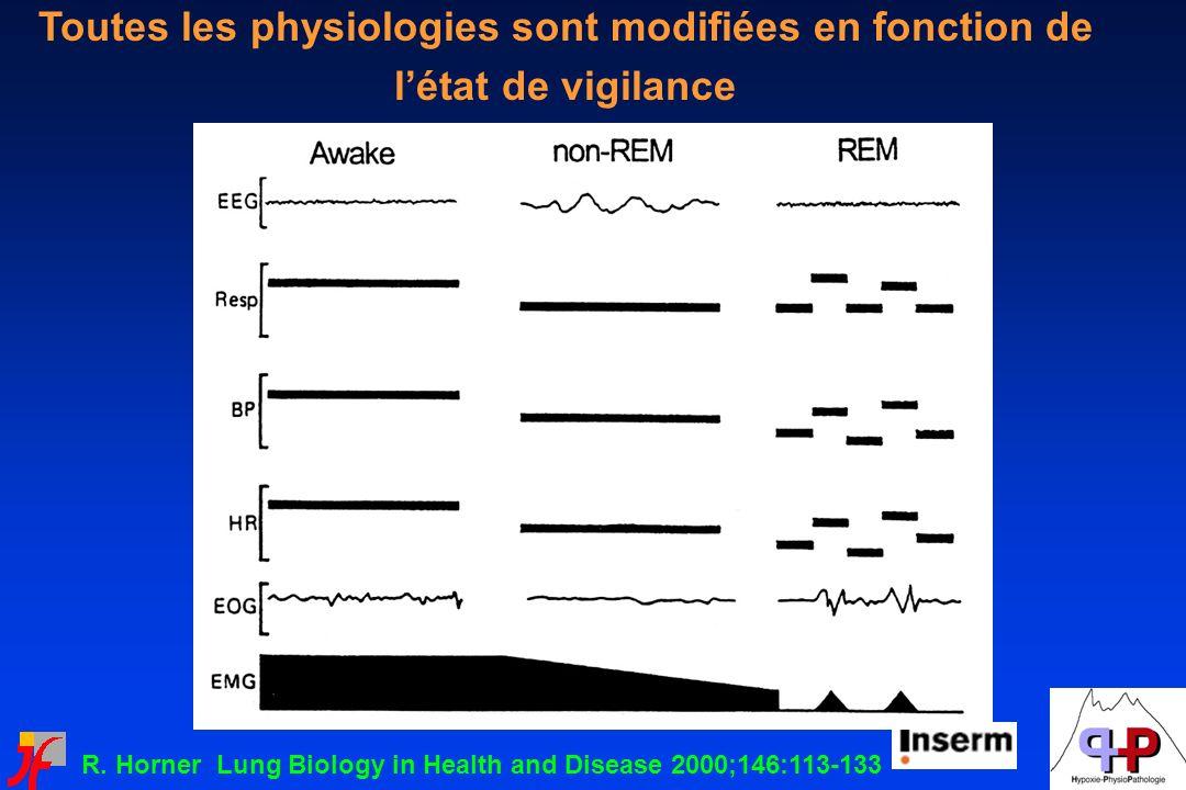 R. Horner Lung Biology in Health and Disease 2000;146:113-133 Toutes les physiologies sont modifiées en fonction de létat de vigilance