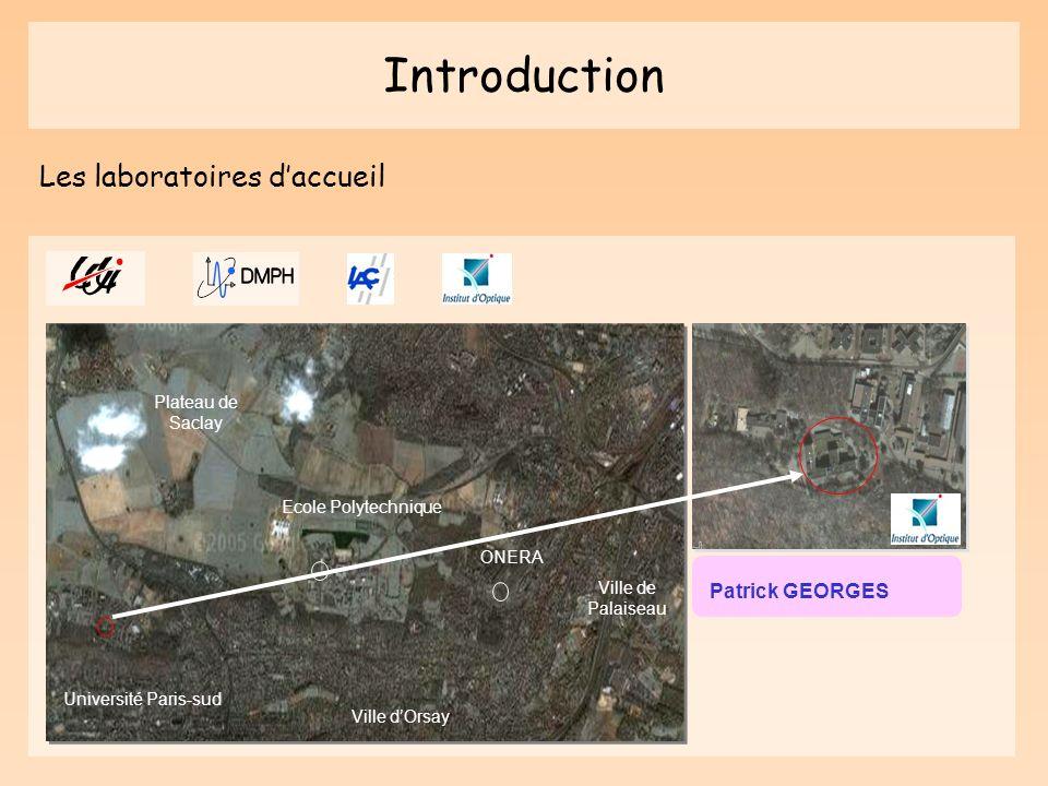 Introduction Patrick GEORGES Ecole Polytechnique Université Paris-sud ONERA Ville de Palaiseau Ville dOrsay Plateau de Saclay Les laboratoires daccuei